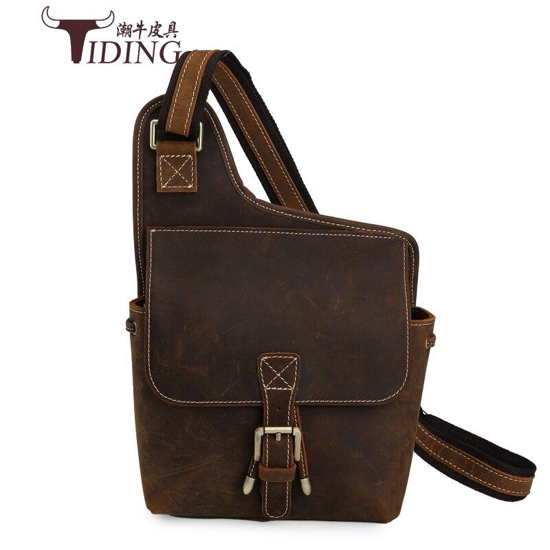 Summer Bag Men Chest Pack Single Shoulder Strap Back Bags crazy horse Leather brand Travel Men Crossbody Bags Vintage Chest Bag