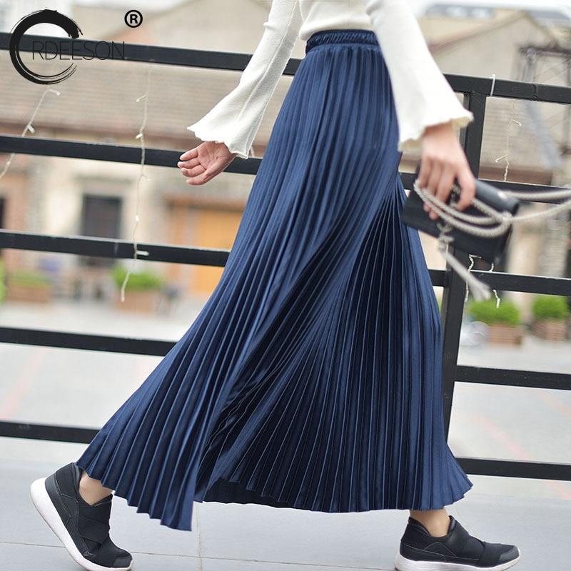 52120e01c ORDEESON 90 cm falda negra brillante satén alta cintura plisada faldas Midi  sólido Falda larga Rok ...