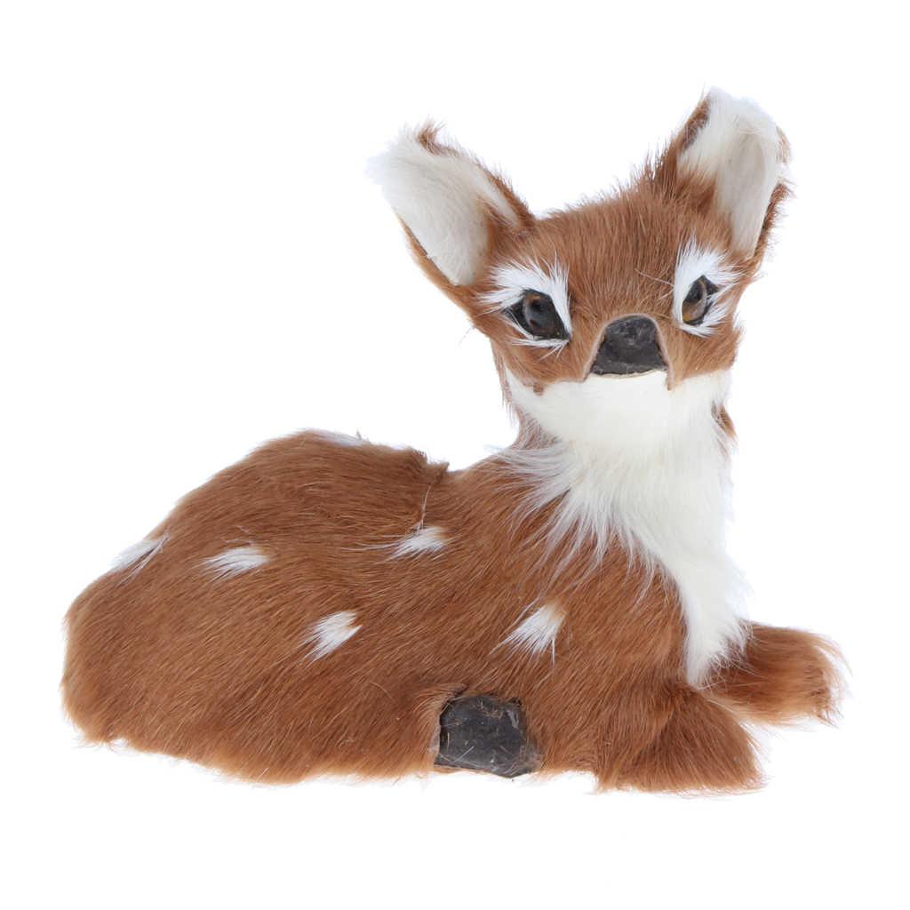 Realistas Veados Sika De Pelúcia Deitado Simulação Stuffed Fawn Animais Modelo Figura Plush Macio Toy Estatueta Decoração de Casa