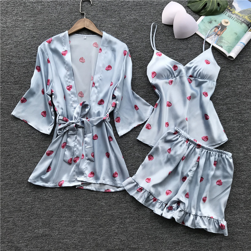 Lisacmvpnel 3 Pcs Printing Sweet Woman   Pajama     Set   Nightgown+Cardigan+Shorts   Set   Female Pijama