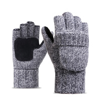 Liva Girl Winter Autumn Fingerless Gloves Men Wool Winter Warm Exposed Finger Mittens Knitted Warm Flip