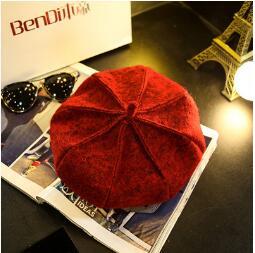 2018 franTui, The autumn winter British wool bud cap female painter Korean black Newsboy Hat pumpkin star Bailey bud powell the amazing lp