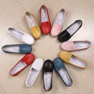 Image 5 - Dobeyping yeni stil ayakkabı kadın yumuşak hakiki deri kadın Flats ayakkabı üzerinde kayma kadın mokasen rahat anne ayakkabı artı boyutu 35 42