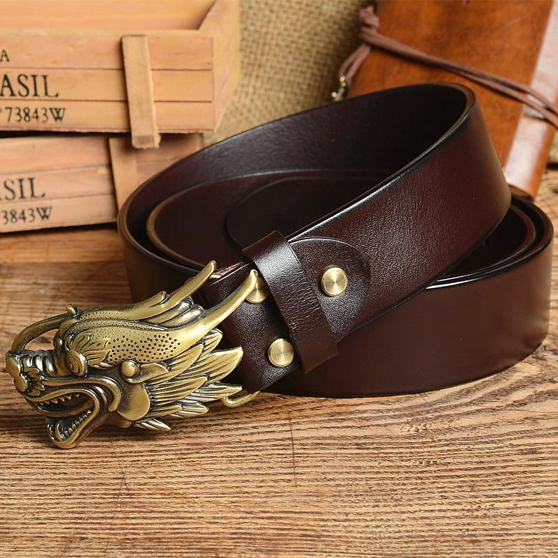 Luxury Chinese Dragon Belt Buckle Thick Genuine Leather Belt Men Jeans Belt Male Strap Ceinture Homme Cinturon Hombre Mbt0558 Great Varieties Apparel Accessories