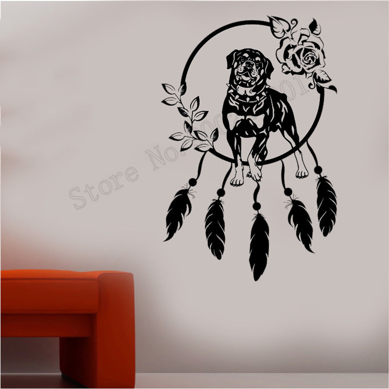 Wall Decoration Vinyl Art Removeable Poster Beautiful Room Sticker Rottweiler Dog Circle Mural Fashion Dreamcatcher Decal LY597 in Wall Stickers from Home Garden