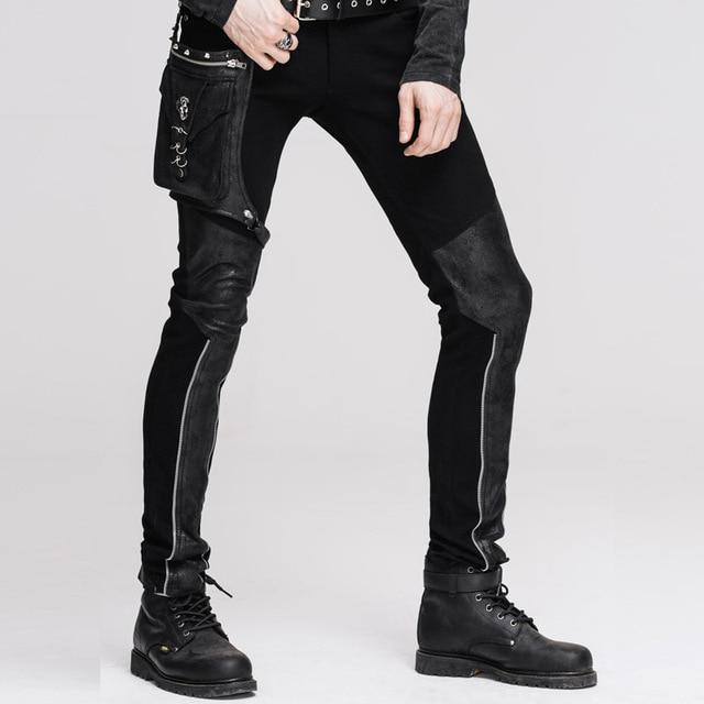 Devil Fashion Punk Leather Pants Men With Hip Holster Pocket Casual Vintage Halloween Stitched Casual Pants Men Tactical Pants 2