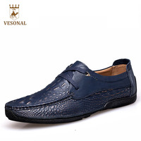 VESONAL 2017 Brand Casual Male Shoes Adult Men Crocodile Grain Genuine Leather Spring Autumn Fashion Luxury Quality Footwear Man