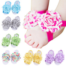 Stripe Splicing Baby Girl Sandals Shabby Chiffon Flower Shoes Cover Barefoot Infant Toddler 20 pairs per Lot
