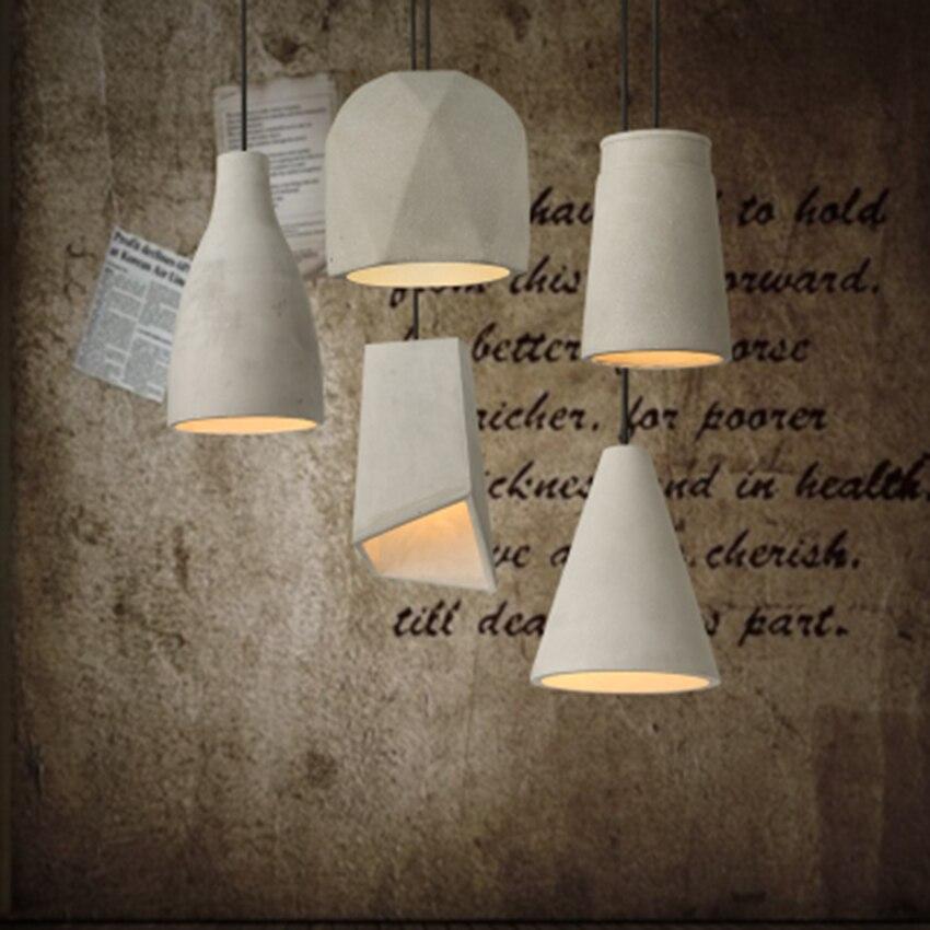 Işıklar ve Aydınlatma'ten Kolye ışıkları'de Modern Basit Yaratıcı Çimento Kolye Işıkları Eski Yemek Odası LED kolye Lamba Oturma Odası Cafe Shop dekor aydınlatma Armatür title=