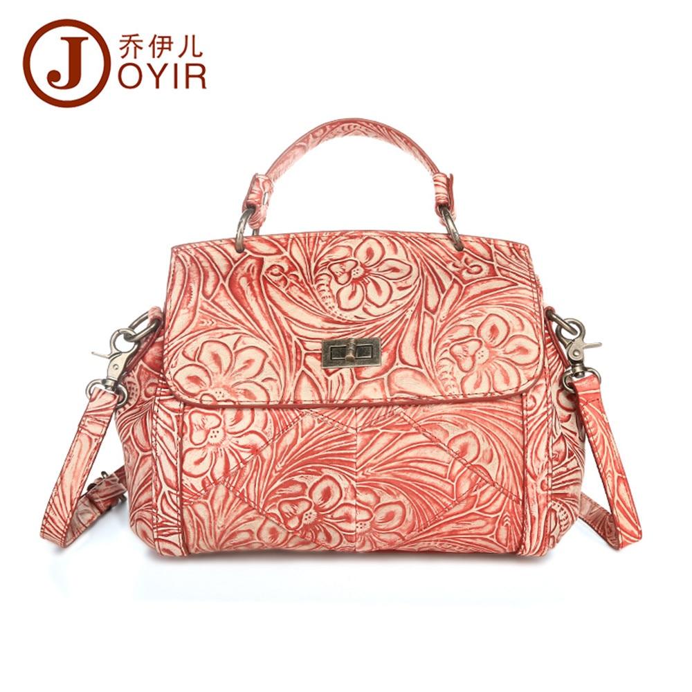 JOYIR Fashion High Quality Genuine Leather Women Handbags Floral Messenger Crossbody Bags Shoulder bag for Women Ladies Gift1718