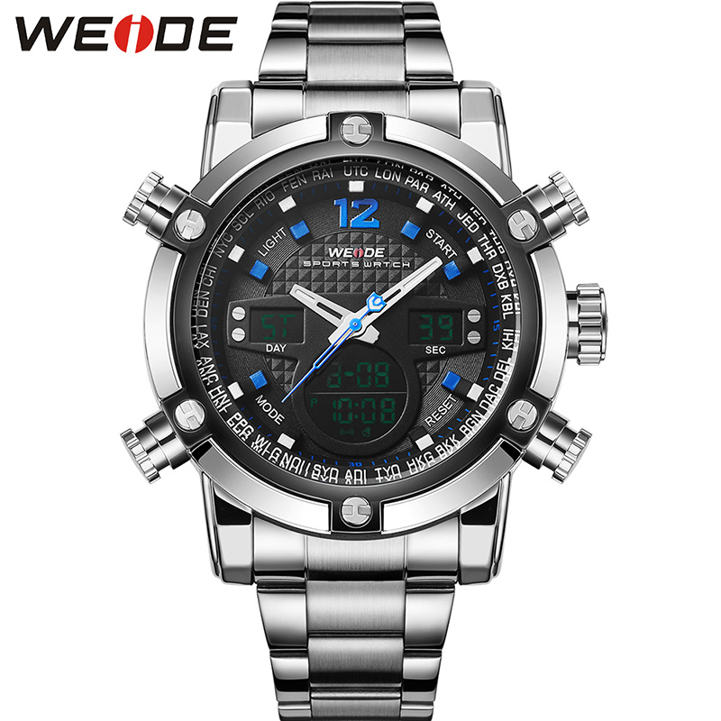 WEIDE Top Fashion Brand Men Sport Watch Dual Display Wristwatches Fashion Casual Wristwatch Hot Clock 30 Meter Waterproof WH5205 brand weide fashion casual men watch black silicone strap 3atm waterproof dual display wristwatch relogio masculino sale items