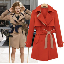 2016 New Winter Clothing Full Sleeve Md-long Blazer Turn-down Collar Slim Double Breasted Fashion Women Trench Coat LY1248