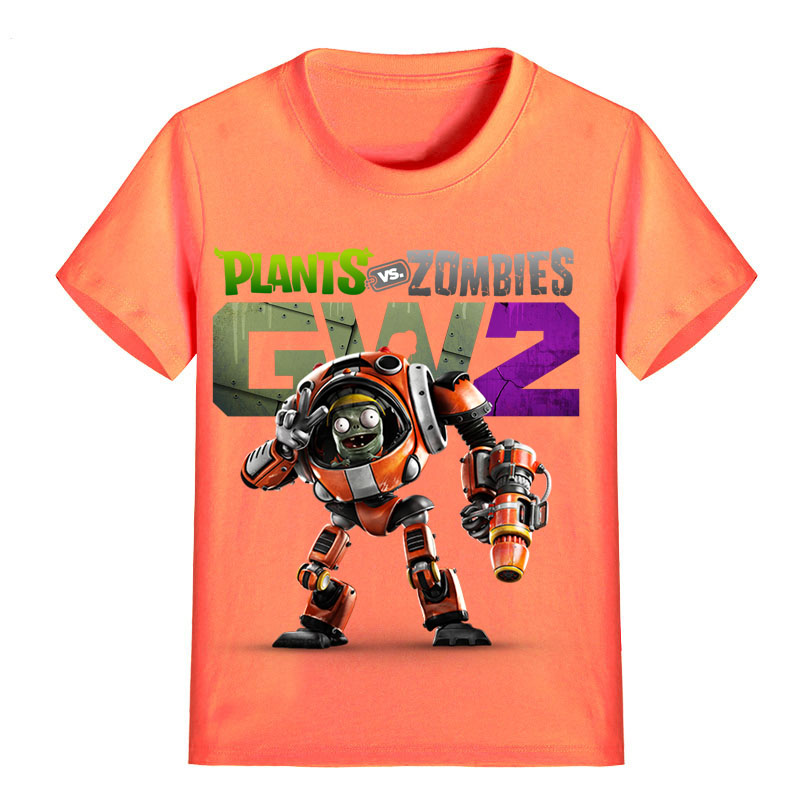 все цены на Children T Shirt Cartoon Plants vs Zombies GW2 Robot Zombies with Gun Garden Warfare Boy Kid Clothes Girl Tee Shirt Kid P1216