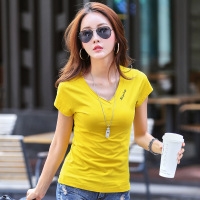 Solid T Shirt Summer Women Top Short Sleeve V Neck Letter Embroidery T Shirt Casual Loose