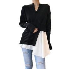 ネック偽 2 V ファッションセーター女性ニットプルオーバーシャツ秋冬不規則な韓国スタイルの女性ロングスリーブトップ