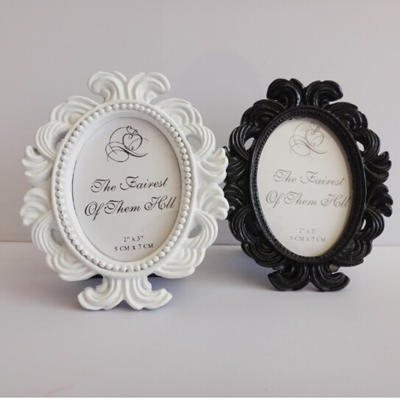 50 pcs/lot White/Black Oval Baroque Place Card Holder Resin Photo ...