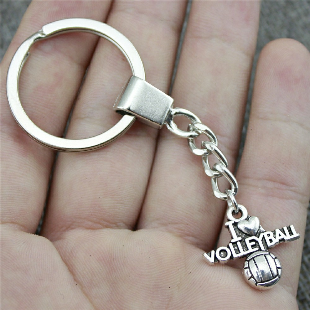 Keyring I Heart Volleyball Keychain 21x20mm Antique Bronze Antique Silver I Heart Volleyball Key Chain Party
