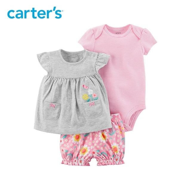 5983a344d Carter 3 pieza de bebé niños ropa de verano de niña de algodón mono ...