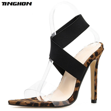 NEW Summer Sexy Women Sandals Leopard Print Shoes Thin High Heels Open toe Ankle Strap Gladiator Pumps Dress Shoes 35-40 недорого