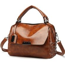 Women Bag Leather Handbag Boston Weave Shoulder Crossbody Rivet Vintage Luxury Designer New 2018