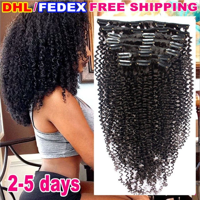 African American Afro Kinky Curly Clip In Human Hair Extensions