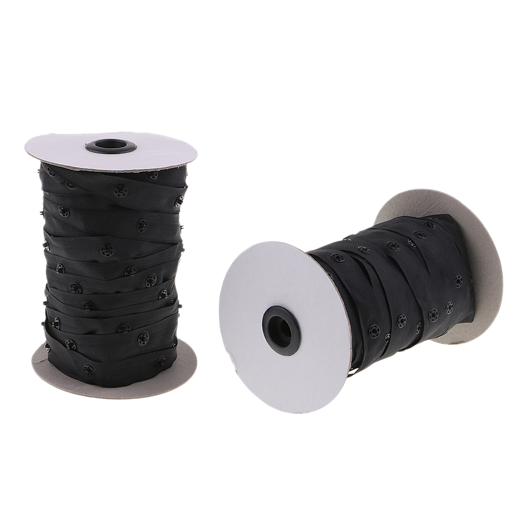 Image 3 - 2 Rolls 50 Yards Resin Button Snap Tape Polyester Twill Sewing Duvet Cover Coat FastenersButtons   -