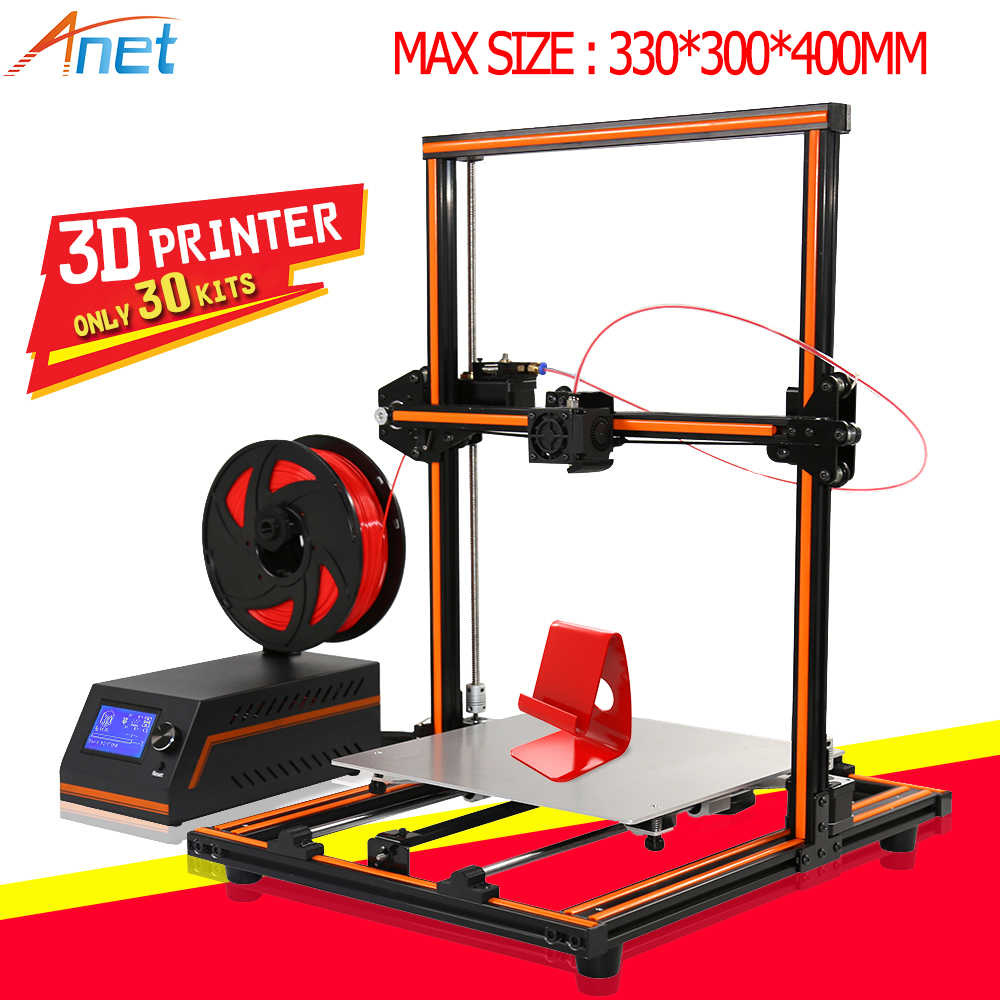 2018 New ! Anet E10 E12 3D Printer Machine Large Printing Size High Precision Reprap i3 DIY 3D Printer Kit with Filament anet e12 3d printer large printing size high precision update threaded rod reprap i3 3d 3d printer kit with pla abs filament
