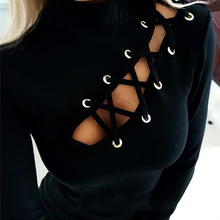 Women Sexy Hollow Out Slim Fit Long Sleeve Casual Round Neck