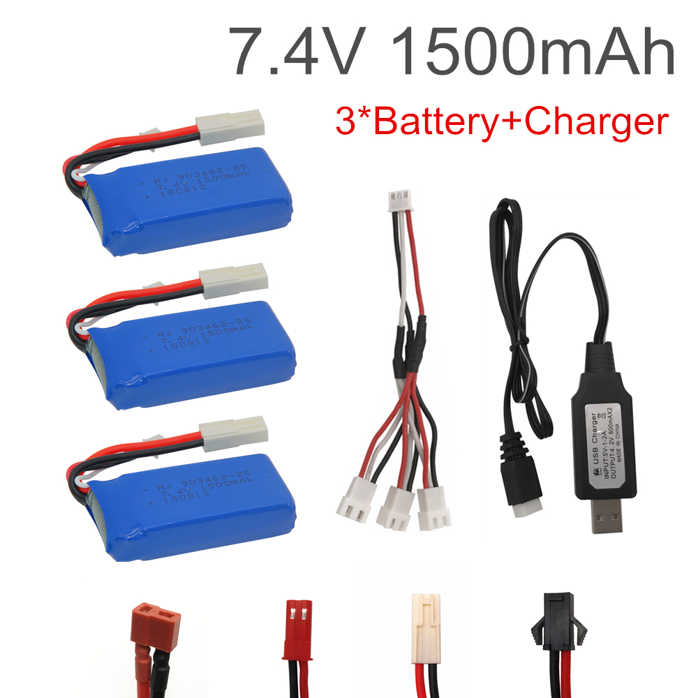 7.4V 1500mAh Lipo Battery With USB Charger For FT009 RC Boat 12428 Battery Lipo 2S 7.4 V 1500 Mah 903462 2S JST SM T PLUG