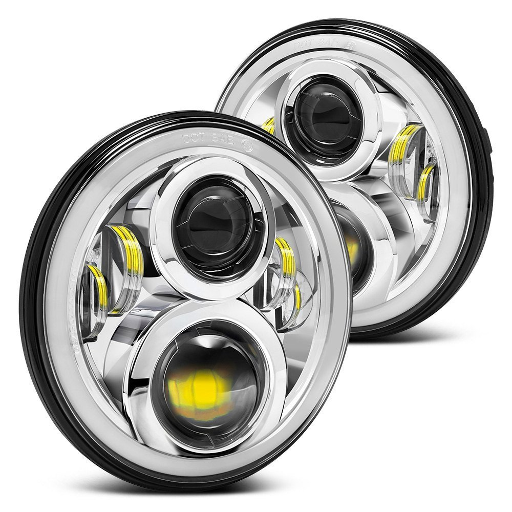Pair 7 Inch Round Projector Wrangler Led Headlight with Halo Angel Eye Ring / DRL / Amber Turn Signal Lights For Jeep JK LJ CJ