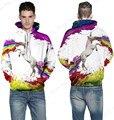 Rainbow Unicórnios Cavalo Moletom Com Capuz Colorido Skate Camisola Hoodies Men Branco Jumper Camisola Encaçapada Luva Cheia
