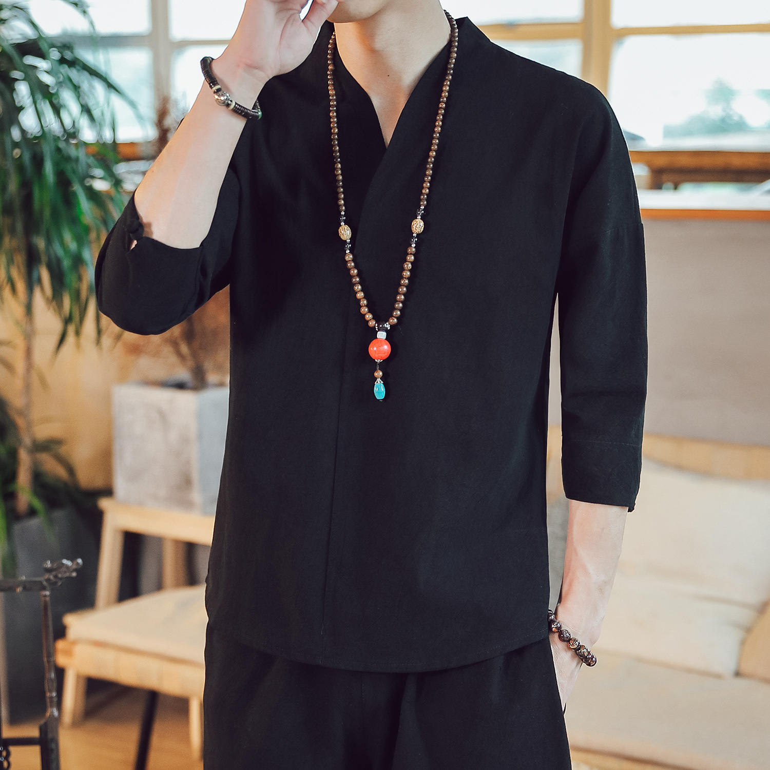 0376 Summer Top Three Quarter Sleeve Chinese Style Retro Vintage T Shirt Casual V Neck Plus Size 5XL Loose T shirt Men Clothing in T Shirts from Men 39 s Clothing