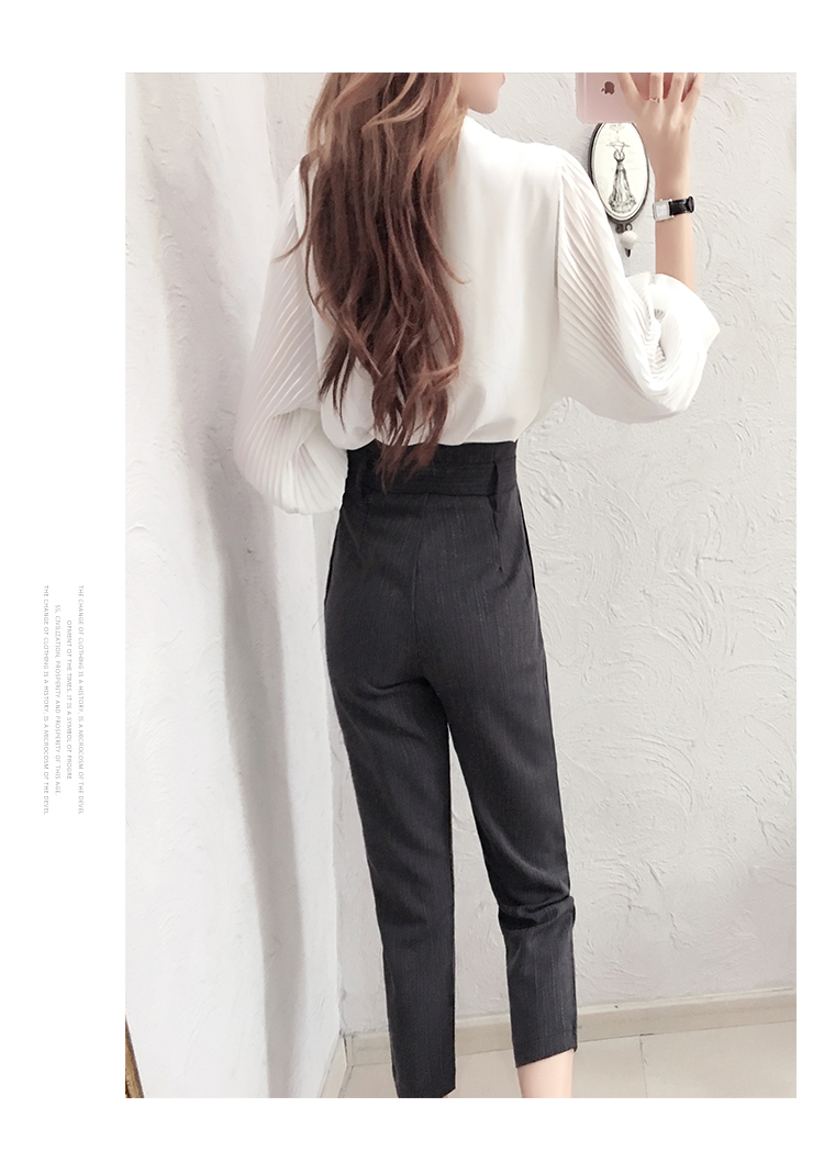 Fashion Suit women spring New high quality Temperament goddess white shirt + nine points pants two-piece Suit women 6