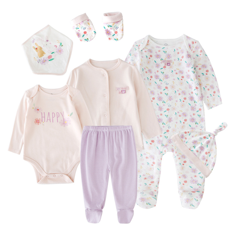 Tender Babies Baby Girl Clothing7pcs Essential Layette Set All In One Knot Top Hat Floral Mits Bodysuit With Bib And Pant&jacket