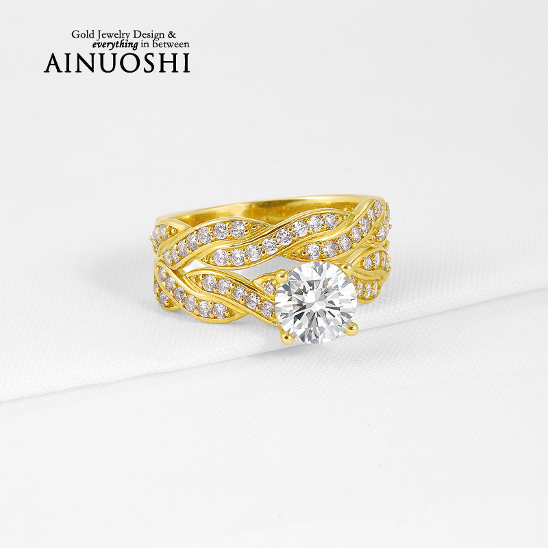 Hot Sale Genuine 10K Yellow Gold Wedding Rings Round Cut Sona Simulated Diamond Ring Sets for Women Engagement Fine Jewelry Gift