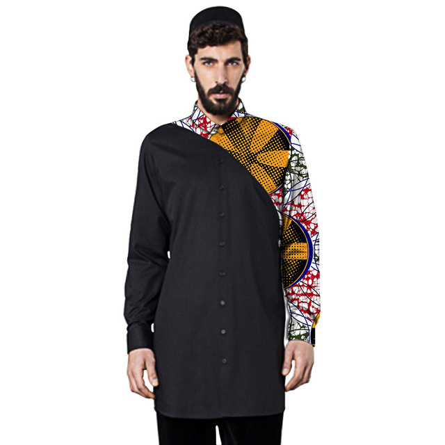 Личное обычай мужчин африканского рубашка стенд воротник моды с длинным рукавом dashiki топы мужские лоскутное африканская одежда