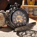 Стимпанк карманные часы новинка люксовый бренд мода скелет часы рука ветер механический карманные часы