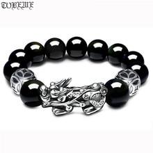 3D 999 Silver Pixiu Beads Bracelet Obsidian Beaded Wealth Pixiu Bracelet Fengshui Good Luck Bracelet