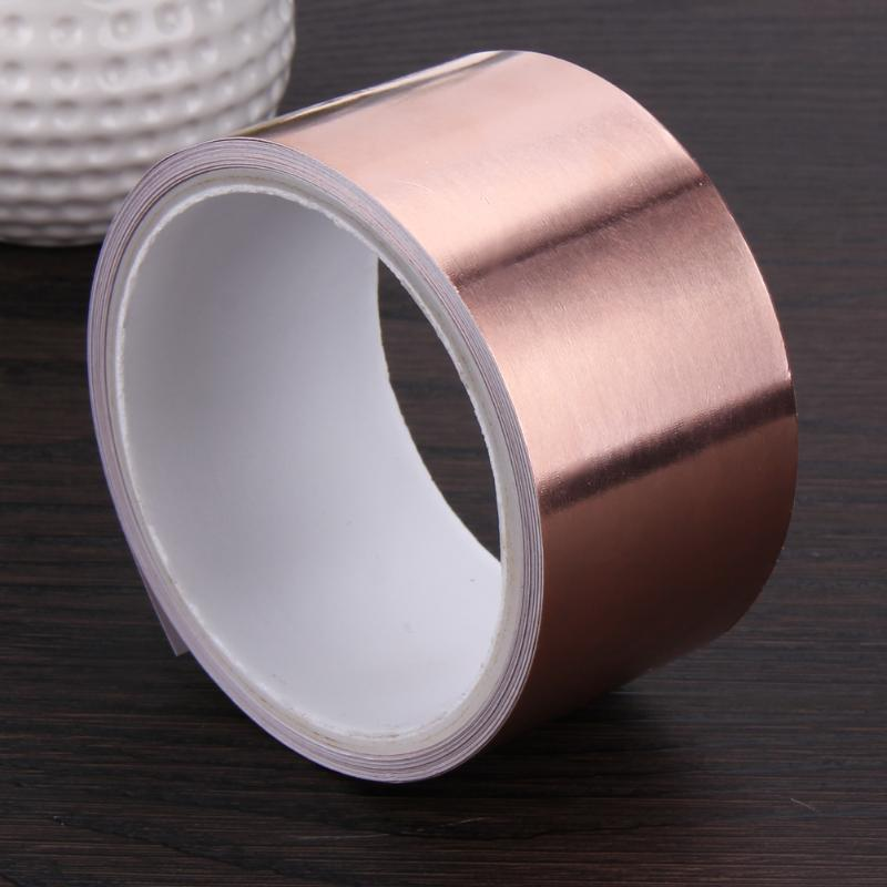 50mm X 5.5m Double Conductive Adhesive EMI Shielding Copper Foil Tape Great for slug repellent EMI shielding stained glass запчасти для автоматических столов emi