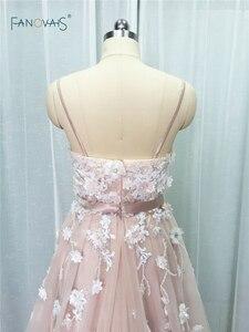 Image 4 - Sexy 2019 Blush Wedding Dresses với Pha Lê Spaghetti Dây Đeo Tulle Hoa Wedding Gown Wedding Gown Wedding Vestido de Novia BT04