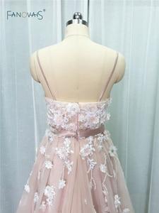 Image 4 - Sexy 2019 Blush Wedding Dresses with Crystal Spaghetti Straps Tulle Flower Wedding Gown Bridal Gown Vestido de Novia BT04