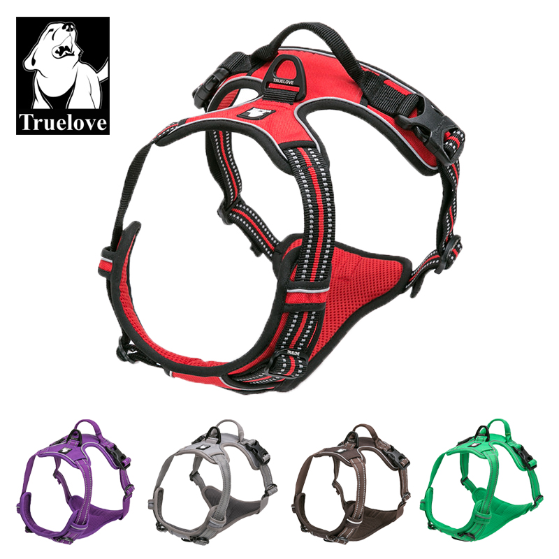Truelove Reflective Nylon Large pet Dog Harness All Weather Service Dog Vest Padded Adjustable Safety Vehicular Lead For Dogs