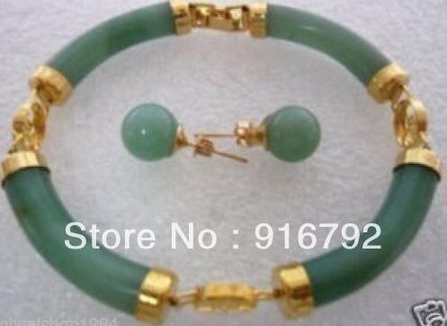 Wholesale Free Shipping> Jewelry Beautiful green stone earrings bracelet sets