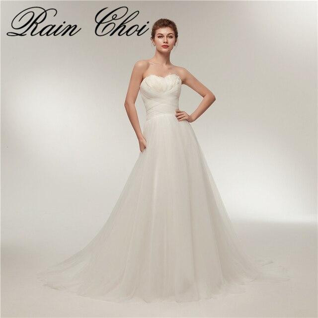 elegant long wedding dress strapless chapl train lace up bridal ...