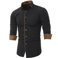 Camisa dos homens 2017 Nova Primavera dos homens Marca de Negócios Slim Fit Vestido camisa Masculina de mangas Compridas Camisa Casual camisa masculina Tamanho M-3XL Q