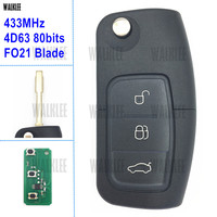 WALKLEE Vehicle Remote Key 433MHz For Ford Keyless Entry Focus Fiesta Fusion Mondeo Galaxy FO21 4D63
