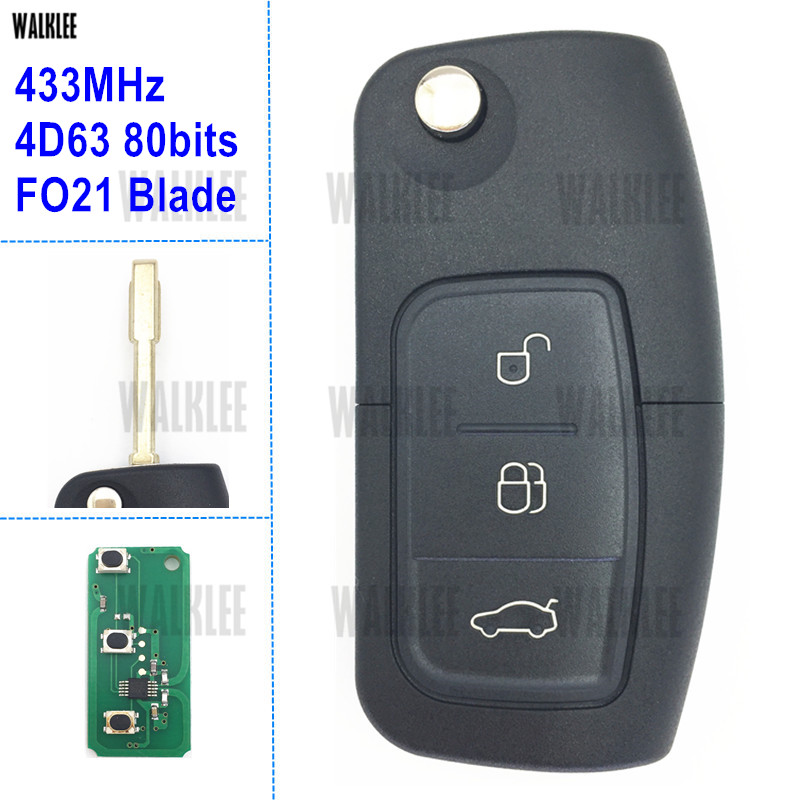 WALKLEE Vehicle Remote Key 433MHz for Ford Keyless Entry Focus Fiesta Fusion Mondeo Galaxy FO21 4D63 80Bits Chip Door Lock