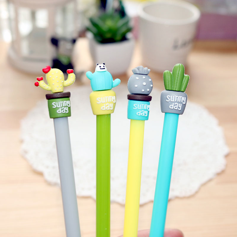 4 pcs/lot Cute potted cactus gel pen writing pens stationery caneta material escolar office school supplies papelaria kids gifts 10pcs multicolor gel pens set cute korean stationery pen for school office supplies writing with packaged box by free shipping