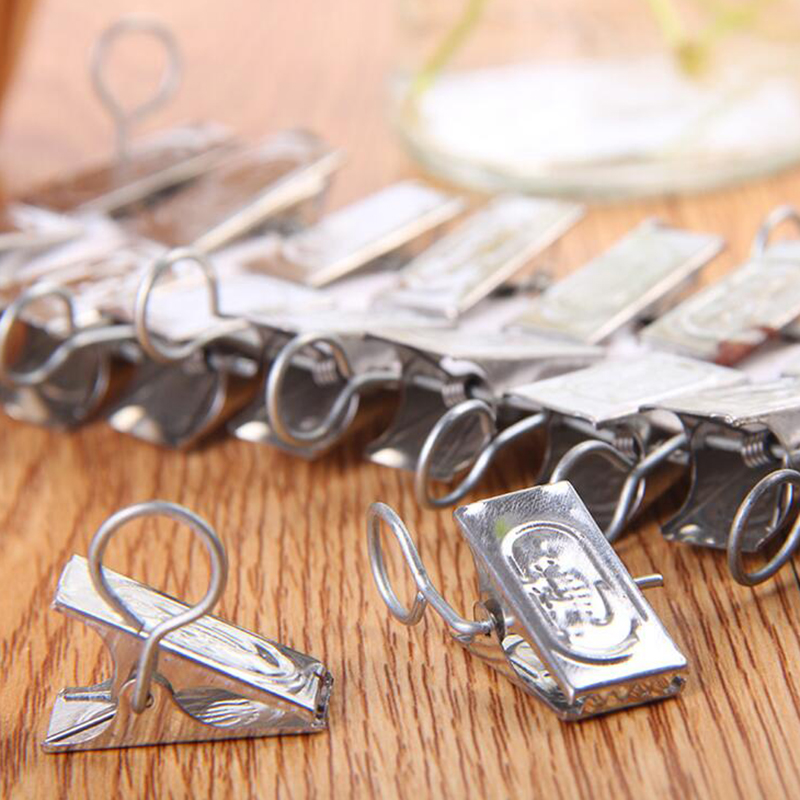 SAE Fortion 20pcs Curtain Rod Clips Drapery Clips Metal Stainless Steel  Window Shower Curtain Rod Clip