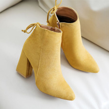 цена 2019 Autumn And Winter New Women's Comfortable Shallow Mouth Pointed Boots Women's Zipper Simple Sweet Wild Boots